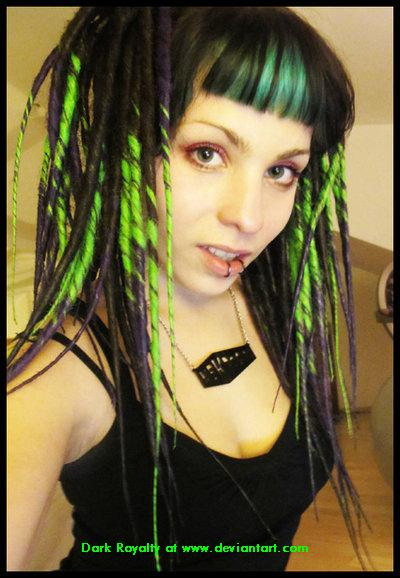 Cyber-Gothic girl with green hair