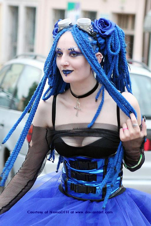 Gothic-haircuts with crazy blue hair
