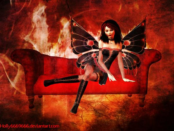 A Gothic-fairy surrounded by fire