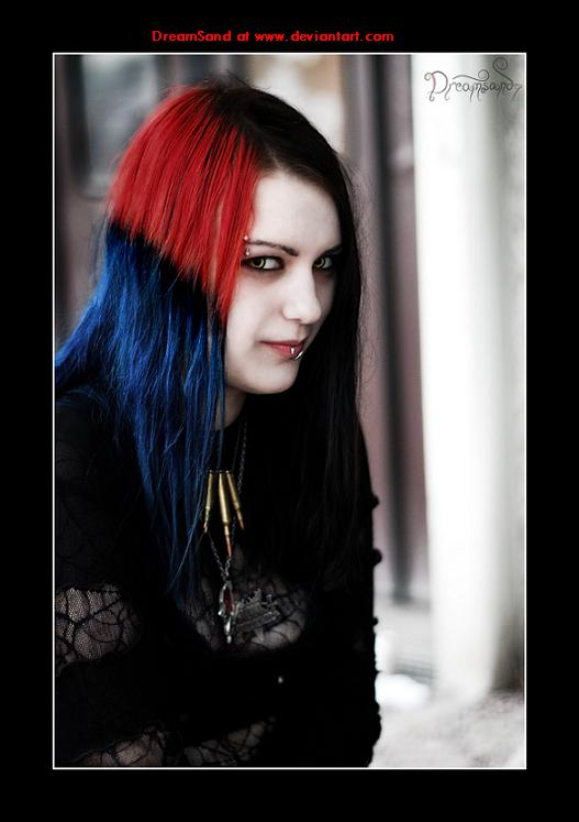 A red and blue Gothic-hairstyle