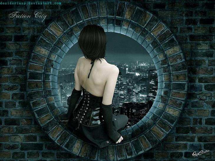 Gothic-backgrounds of a girl sitting at a ledge