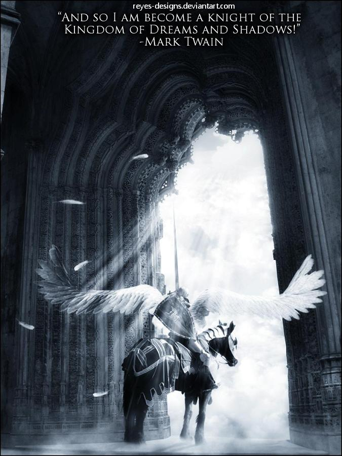 Gothic-fantasy-art knight riding a pegasus